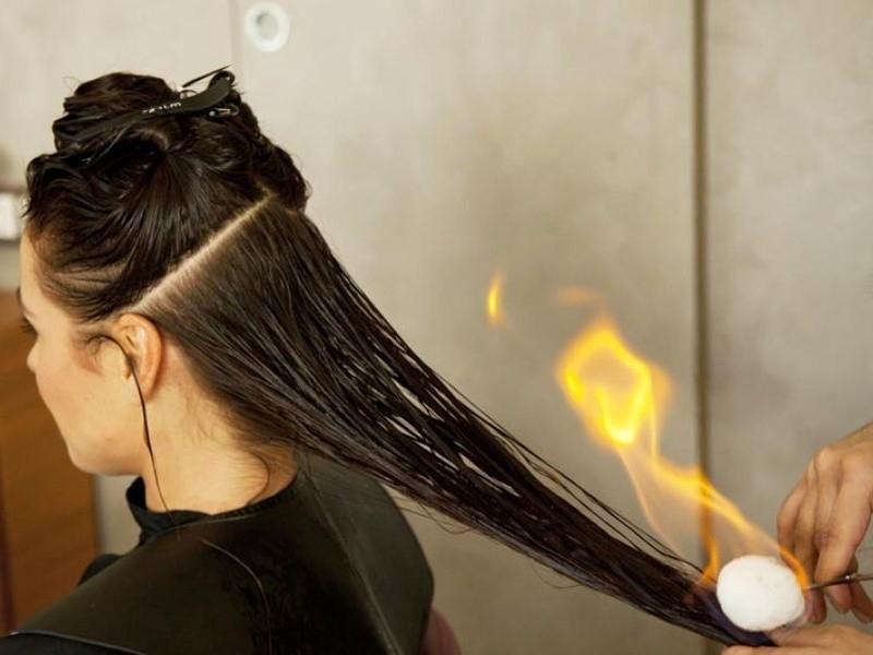 Как женщине вылечить волосы огнем?